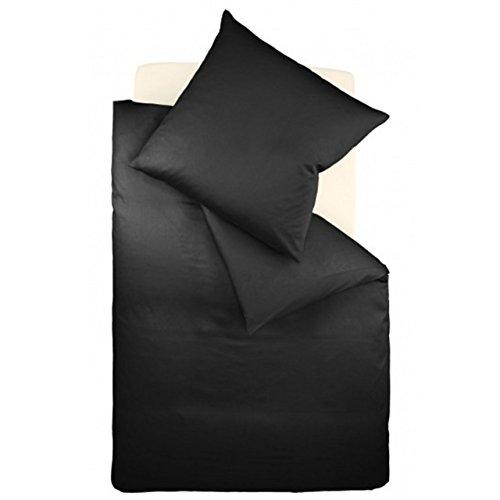 fleuresse Mako-Satin-Bettwäsche colours schwarz 941 Größe 135 x 200 cm + 80 x 80 cm Kissenbezug