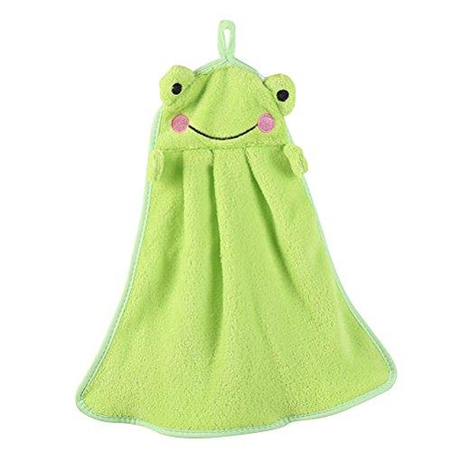 Asciugamano per bambini,OUNONA Panno asciugamani cartone assorbente per mani da appendere di rana verde