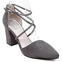 Minetom Donne Elegante Scarpe A Punta Scarpe Cross Cinturini Alla Caviglia Nubuck Sandali Con Tacco (Disco Piattaforma)