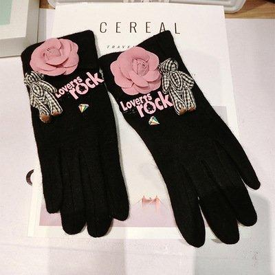 Bow Tie Fleece der Handschuhe weiblichen Winter koreanische Version des Schönen...