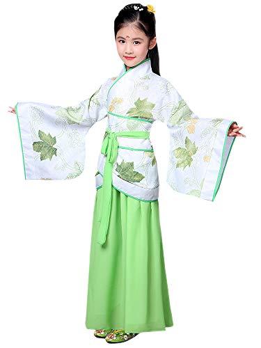 BOZEVON Hanfu - Children's Chinese Retro Kostüm Mädchen Führen Tanz Kostüme,Grün,EU 150=Tag 160