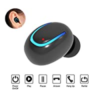 Aisuo Bluetooth 4.1 Earbud, Mini Headsets with Built-in HD Mic, Rechargeable Lithium Battery, Hands Free Call & 1 Connect 2 Function, Good Choice for Friends.
