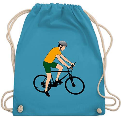 Shirtracer Radsport - Fahrradfahrer Citybike Radfahrer - Unisize - Hellblau - WM110 - Turnbeutel und Stoffbeutel aus Bio-Baumwolle