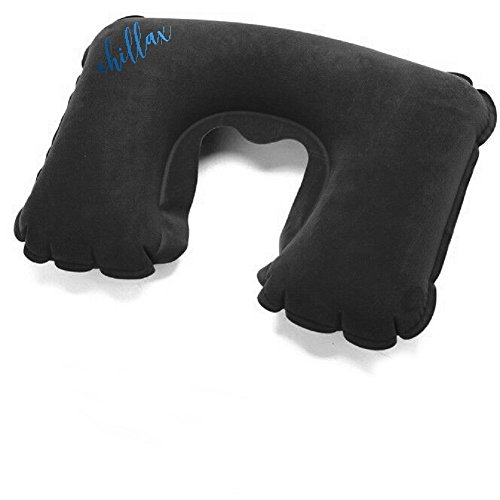 Chillax Aufblasbares Nackenkissen | Schwarzes Nackenhörnchen für entspanntes Reisen und erholsamen Schlaf | Weiches und Beweuemes Reisekissen zum Träumen & Relaxen