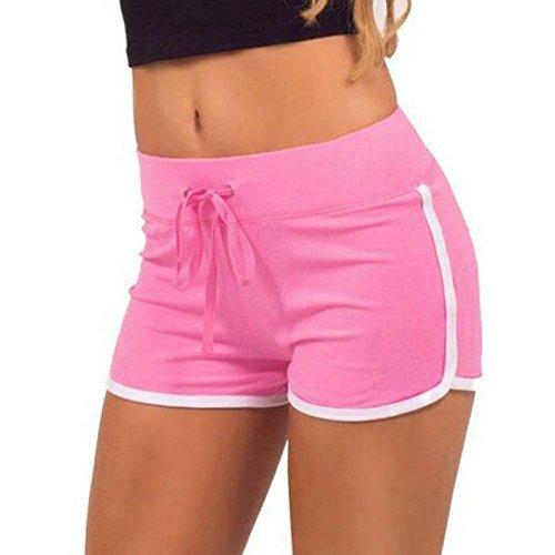 ZHOUJINGTIAN Pantaloncini da Donna Pantaloni Sportivi Yoga di Grandi Dimensioni Pantaloni Caldi Femminili Rosa 2XL