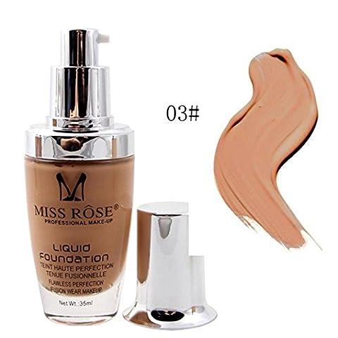 Gaddrt MISS ROSE Liquid Foundation Gesicht Farbe Wasserdicht Öl Kontrolle Abdeckung Makeup Base 35ML (C)
