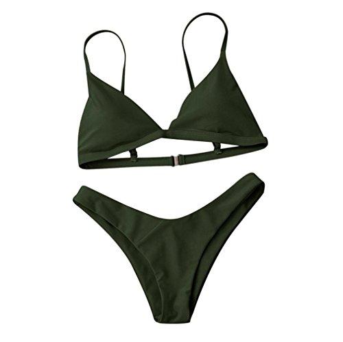 LHWY Bikini Damen Push Up, Frauen Padded BH Badeanzug Bademode Sommer Jugendliche Mädchen Strand Kleidung Solide Slips Höschen Bikini Set Mode (M, Army Green)