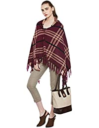 Cayman Wine & Beige Reversible Acrylic Wool Poncho Sweater