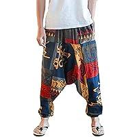 Gusspower Pantalones De Harén Bombachos Hombre Mujer,Unisex para Yoga Cómodo Ancho Harem Pants con Entrepierna Casual Festival Delantal Hippie Alta Cintura