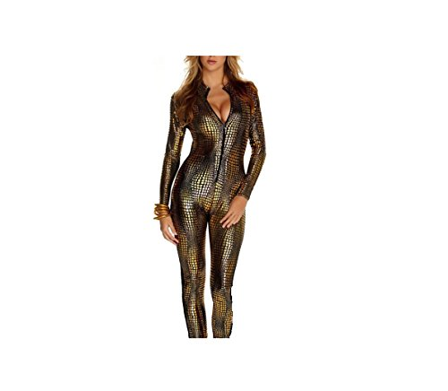Frauen Shiny Catsuit Snakeskin Muster Unitard Kunstleder -Overall-Cosplay-Dame-Mädchen-Abendkleid Overall Sexy Party Clubwear (XL, Gold)