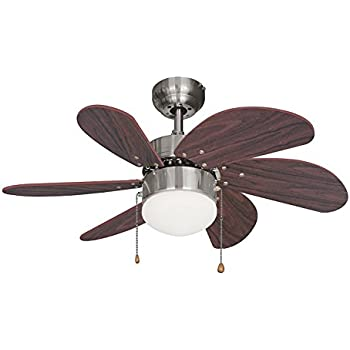 ustellar 30inch76cm light ceiling fan reversible classic bedroom ceiling fans lamp with 6 brown wooden blades and frosted dome light for winter and summer