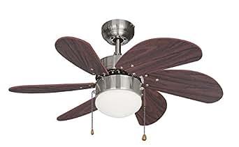 Ustellar Ventilateur de Plafond 76CM, Silencieux, Ventilateur Reversible été/hiver Avec Lampe E14, 6 Pales en Bois 3 Vitesse, pour Chambre Salon