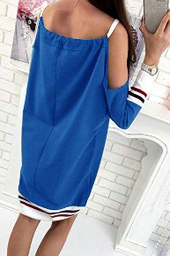Le Donne Una Manica Lunga Freddo Spallina Colore Blocco Midi In Camicia Vestito Blue