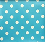 LARGE LIGHT BLUE POLKA DOT PRINTED FABRIC PVC OILCLOTH VINYL CRAFTS FABRIC KITCHEN CAFE BAR TABLE WIPECLEAN CATERING TABLECLOTHS