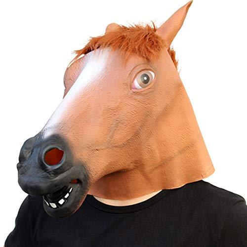 LWYJ Halloween Maske Neuheit Pferdekopf Maske Maskerade Performance Requisiten Naturlatex Kostüm Party für Erwachsene und - Wirklich Beängstigend Kostüm Kinder