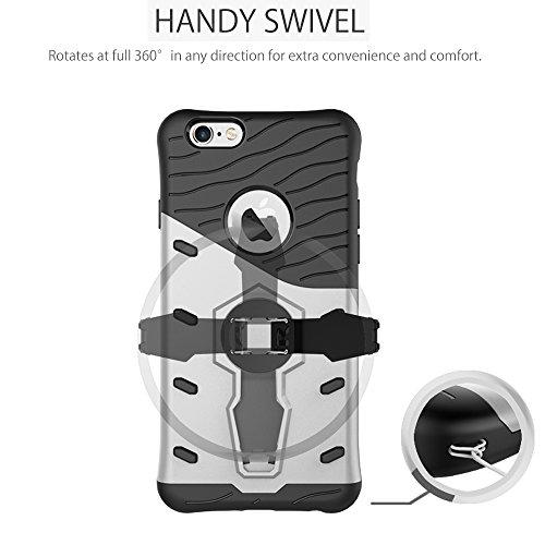 Fogeek Schutzhülle iPhone 6 Plus Hülle : Luftkissen Ecke Schutztechnik Abdeckung kühle dünne Tasche Schutzhülle für iPhone 6/6s Plus mit Selbst Ständer Rot silber