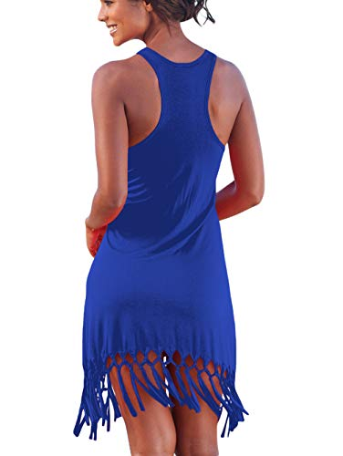 BINLIANG Damen Casual Racerback Mini-Sommerkleid Langes Shirt mit Fransen - blau - 34 DE/36 DE (Small) - Junior-baby-puppe Shirt