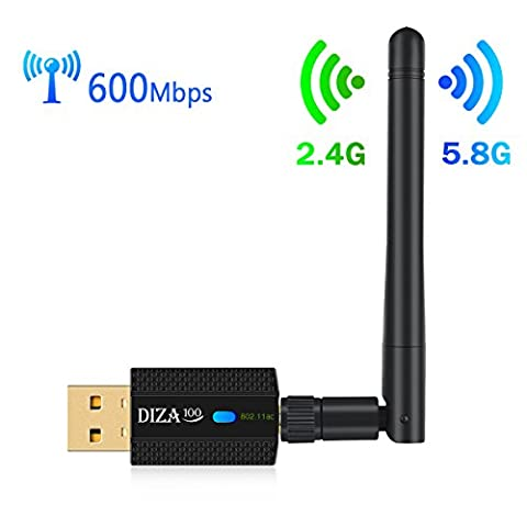 Wireless USB WiFi Adapter AC 600Mbps Dual Band 2.4G/150Mbps + 5.8G/433Mbps with High-gain Antenna, USB Network Adapter for Desktop/Laptop Complies with IEEE 802.11 a/b/g/n/ac Standard Supports Windows & Mac OS X