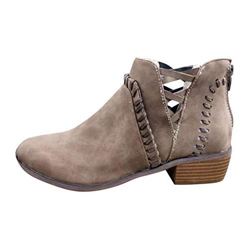 Kolylong® Damen Stiefel Mode Einfach Sandalen Einzelne Schuhe Wedges Sandals Aushöhlen mit Absatz Kurze Stiefel Keilabsatz Schuhe Low-top Schuhe Stiefel Casual Winter Stiefeletten