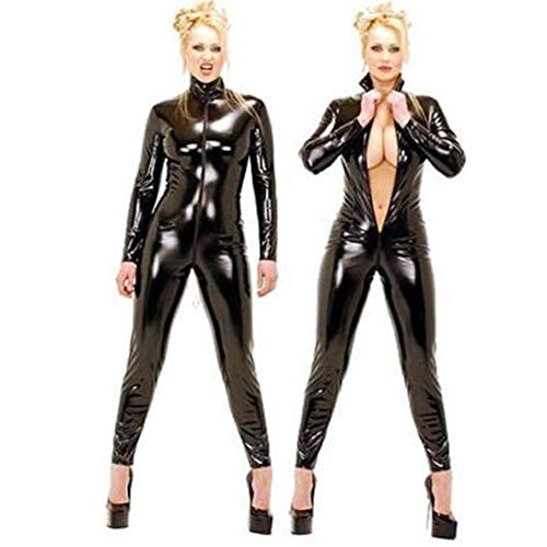 Damen Lange Ärmel Hose Lackleder Max Reißverschluss Open Crotch Steel Tube Dance Rock Slim Fit Dress Set,Black,XXL