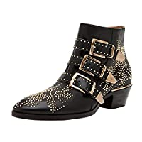 aznz Women Low Heel Rivets Ankle Boots Studded Buckle Strap Zip Short Bootie