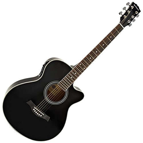 Single Cutaway Elektro-Akustik Gitarre schwarz