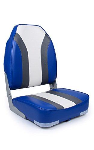 wellenshop Bootssitz Deluxe klappbar Blau Weiß Grau Steuerstuhl Klappstuhl
