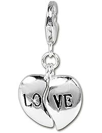 1c65b3321471 Plata Dream 925 plata de ley Charm Corazón Love Colgante para pulsera  cadena pendientes fc3008