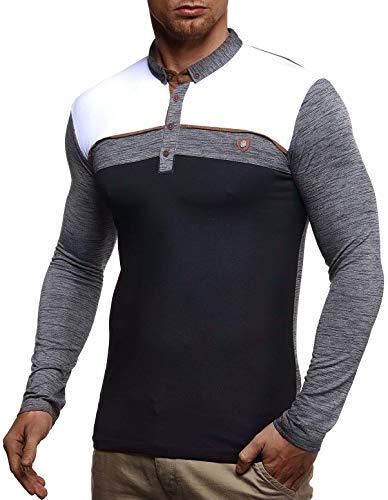 Leif Nelson Herren Polo-Shirt Langarmshirt Slim Fit Baumwolle-Anteil Basic Männer Longsleeve Pulli weißes Sweatshirt Poloshirt Pullover T-Shirt Langarm LN4805 Anthrazit Large -