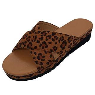 Kolylong Damen Leopard Sommer Flip Flops Keilabsatz Kreuz Sommerschuhe Hausschuhe Mode Slipper Sandalen Sandaletten Sommerschuhe 35-43