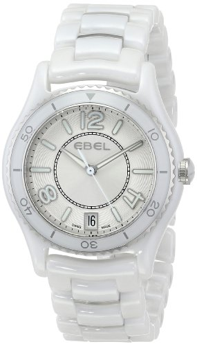 Ebel X-1 Silver Dial White Ceramic and Steel Ladies Watch 1216129.