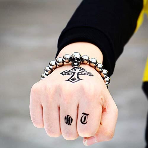 IJEWALRY Damenarmband Armbänder Armband,Mode Persönliche Steampunk Metall Schädel Armbänder Elastische Stahlperlen Kette Skeleton Männer Armbänder Sets Männliche Hand Zubehör Mann Geschenk