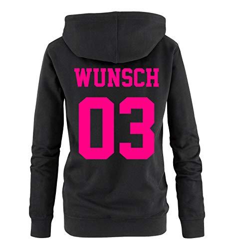 Comedy Shirts - Wunsch - Damen Hoodie - Schwarz/Pink - Gr. L (Hoodie-l Pink Damen Love)