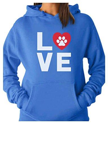 Paw Prints Hoodie (Animal Lover Dog Paw Print - Love Dogs My Best Friend Women Hoodie X-Large California Blue)