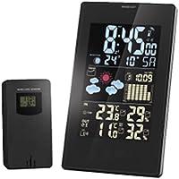 Junjiagao Reloj de Proyección Radio Recargable RCC Estación meteorológica Temperatura Sensor de Humedad Previsión del Tiempo para Contador de Calorías Pantalla de Cristal Líquido Colorido