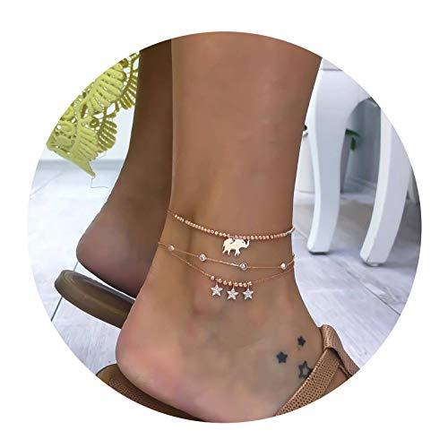 Aienid cavigliera argento donna three chain star elepfant oro cavigliera per donne lunghezza:22x1.6cm