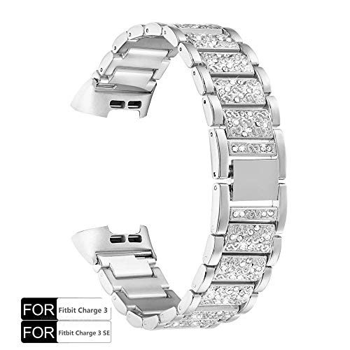 YOOSIDE Armband für Fitbit Charge 3,Edelstahl Metall Ersatzarmbänder Kristall Armbänder Fitness Zubehör für Fitbit Charge 3 und Charge 3 SE,Silber