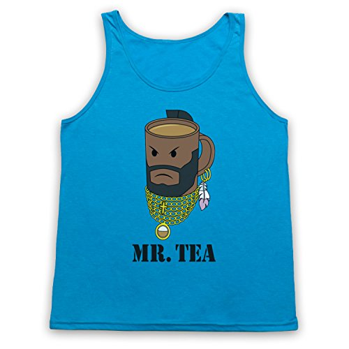 Mr Tea Graphic Illustration Tank-Top Weste Neon Blau