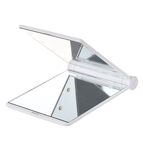 TOOGOOR LED de bolsillo bolso compacto espejo de maquillaje plegable con luces de mano cosmetica ...