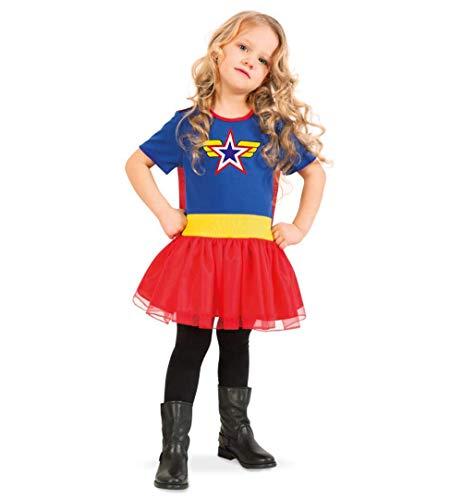KarnevalsTeufel Kinderkostüm Super Wendy Kleid in blau mit rotem Rock und abnehmbarem Cape Superheldin Verkleidung Retterin Heldin Supergirl (104)
