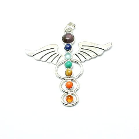 1 x Silver/Mixed Metal Alloy 57 x 58mm Charms Pendants (CaduceusSymbol) - (Y07395) - Charming