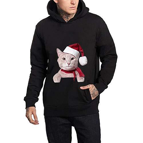 Holeider Hoodie Herren, Basic Weihnachtspullover Kapuzenpullover mit Tasche Herbst Winter Männer Pullover Sweatshirt Sweatjacke Slim Fit Mantel Jacke Katze Drucken | 00681164173542