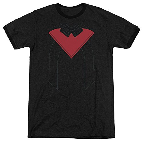 Nightwing Kostüm Shirt - Batman Männer Nightwing 52 Kostüm Ringer T-Shirt, Medium, Black