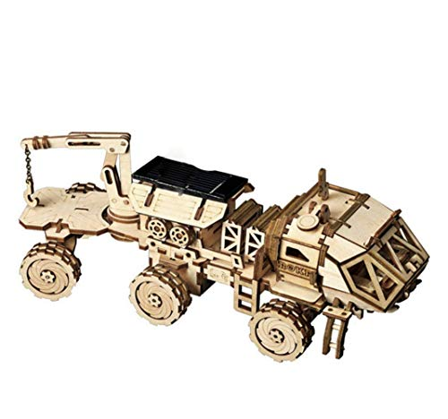 HLMAX Mechanische Modell 3D Holzpuzzle DIY Bausatz Solarenergie Spielzeug Für Kinder Jugendliche und Erwachsene (Curiosity Rover),B