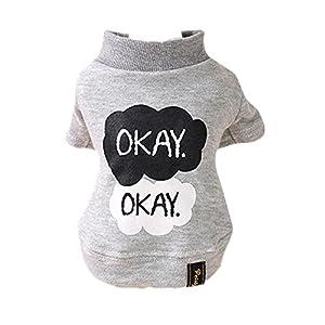 """Angelof """" Okay """" Imprimé Animal Chien Chiot Chaud Chemise VêTements Coton Outwear"""