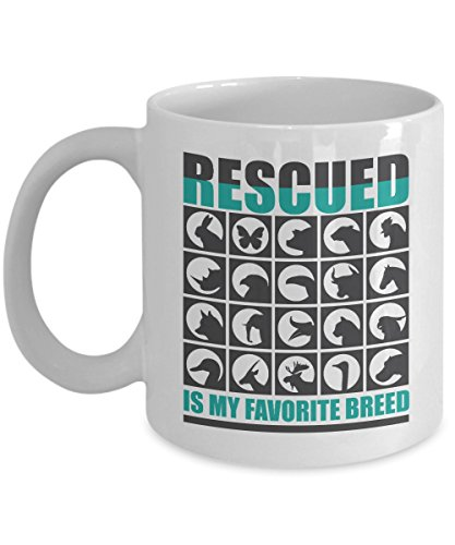Rescued Is My Favorite Breed Coffee & Tea Gift Mug Stuff For Veterinarians, Animal And Pet Lovers (11oz)