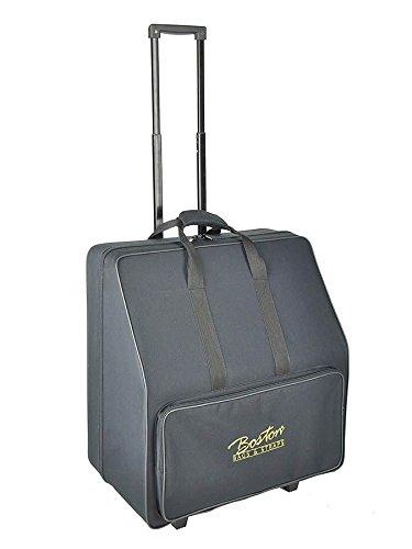 Boston 48-Bass Akkordeon Koffer/Trolley (Akkordeontrolley, Holzkern, weiche Plüsch-Polsterung, festes wasserabweichendes Oberflächenmaterial schwarz