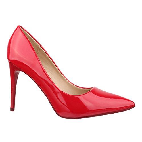 Elara Damen Pumps spitz   Moderne High Heels   Bequeme Lack Stilettos   Chunkyrayan B-80 Red-36
