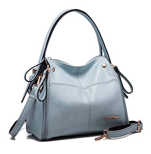 Keshi Pu Cool Damen Handtaschen, Hobo-Bags, Schultertaschen, Beutel, Beuteltaschen, Trend-Bags, Velours, Veloursleder, Wildleder, Tasche Hellblau