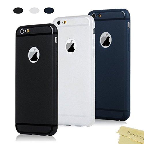 3x Cover iPhone 6,iPhone 6s Custodia Silicone Satinate Opaco Ultra Sottile - Mavis's Diary Case Gomma Antiscivolo Satinata TPU Morbido Protettiva Cassa Bumper,Shock-Absorption - (Trasparente Bianco,Nero,Blu scuro)